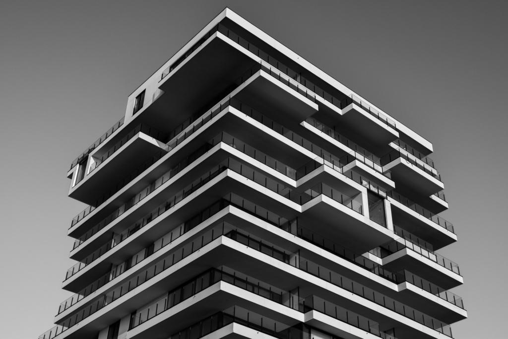 gebouw zwart wit